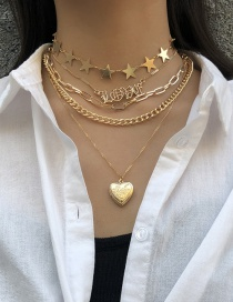 Fashion Multi-layer Suit Gold Chain Opening Peach Heart Multi-layer Star Love Geometric Necklace