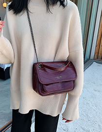 Fashion Red Wine Embroidery Chain Single Shoulder Messenger Bag
