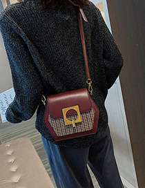 Fashion Red Wine Plaid Stitching Single Shoulder Messenger Bag