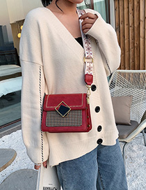 Fashion Red Wooly Houndstooth Crossbody Bag