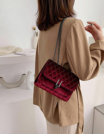 Fashion Red Lingge Chain Velvet Crossbody Bag
