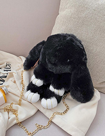 Fashion Black Large Imitation Rabbit Plush Chain Cartoon Rabbit Shoulder Slung