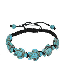 Fashion Blue Turtle Wax Line Weave Adjustable Crack Turquoise Bracelet