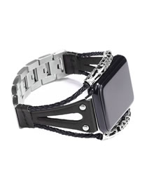 Fashion Black Leather Stainless Steel Watch (for Apple Iwatch3/4)