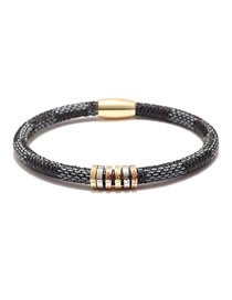 Fashion Black Stainless Steel Cowhide Striped Alloy Magnetic Buckle Letter Love Bracelet