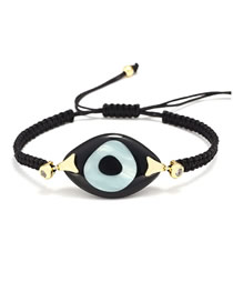 Fashion Black Braided Resin Eye Bracelet