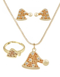 Fashion Gold Copper Inlaid Zircon Christmas Series Hat Necklace Earrings Ring Set Of 3