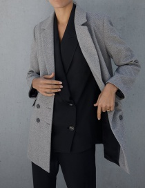 Fashion Gray Double-breasted Woolen Coat