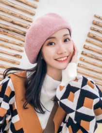 Fashion Pink Two-tone Wool-blend Beret