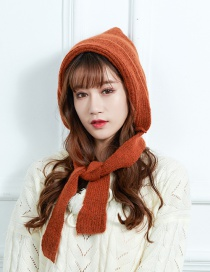 Fashion Rust Red Knitted Wool Bib Hat Two-piece