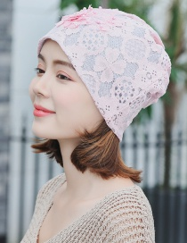 Fashion Pink Pearl Flower Lace Double-layered Pile Head Cap