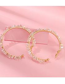 Fashion Gold Circle Ring Crystal Earrings