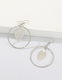 Fashion White K Round Openwork Leaf Earrings