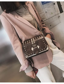 Fashion Brown Rivet Chain Shoulder Diagonal Shoulder Bag