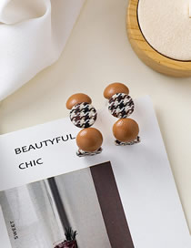 Fashion Brown Fabric Sebow Button Round Earrings