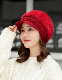 Fashion Red Rabbit Hair Triangle Knit Cap