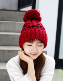 Fashion Wine Red Letter Embroidery Wool Ball Knitted Wool Cap