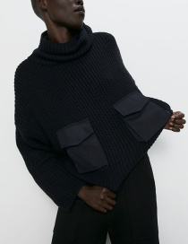 Fashion Black Stitching Pocket Sweater