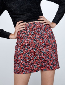 Fashion Color Printed Pleated Mini Skirt