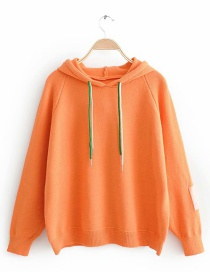 Fashion Orange Hooded Pullover Sweater