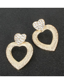 Fashion Gold Love Alloy Micro-studded Hollow Earrings