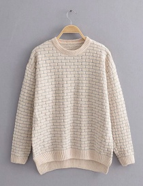Fashion Beige Colorblock Striped Knit Wool Pullover Sweater