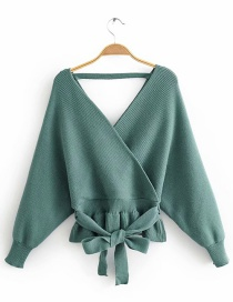 Fashion Green Front And Rear V-neck Sweater