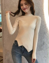 Fashion Beige Irregular Knit Bottoming Shirt