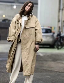 Fashion Khaki Large Pocket Single-breasted Trench Coat