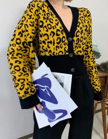 Fashion Yellow Lantern Sleeve Leopard Knit Cardigan
