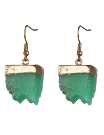 Fashion Green Inlaid Cluster Crystal Earrings Plastic Geometric Earrings