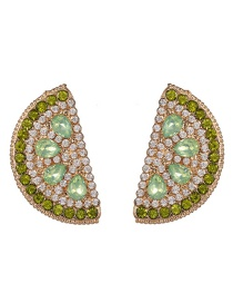 Fashion Green Grapefruit Three-dimensional Simulation Fruit Earrings