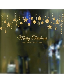 Fashion Gold Christmas Ball Wall Stickers 2 Pieces