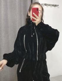 Fashion Black Velvet Multi-zip Jacket