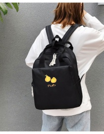 Fashion Black Embroidered Fruit Backpack