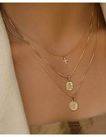 Fashion Gold Metal Multilayer Cross Necklace