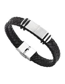 Fashion Silver Titanium Steel Leather Scripture Cross Bracelet