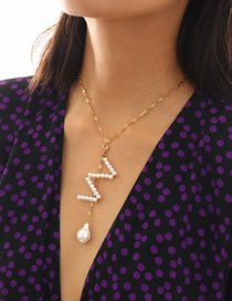 Fashion Gold Fringed Geometric Shaped Imitation Pearl Letter Necklace