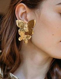 Fashion Gold Alloy Double Butterfly Earrings