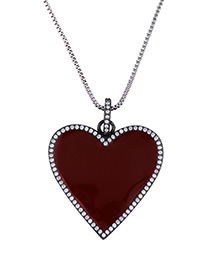 Fashion Silver Drip Oil And Diamond Love Heart Necklace