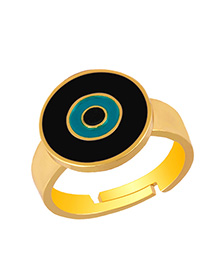 Fashion Black Eye Drop Copper Plated Gold Open Ring