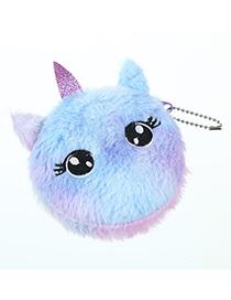 Fashion Big Eyes Purple Cartoon Cat Plush Purse