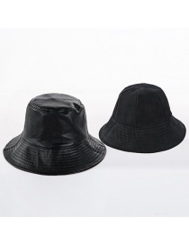 Fashion Double-sided Black Double-faced Solid Color Leather U Fisherman Hat