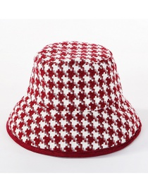 Fashion Wine Red Black And White Gridded Basin Cap