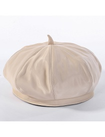 Fashion Beige Matte Leather Beret