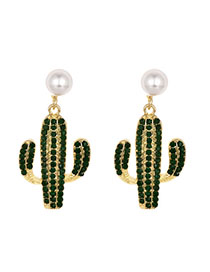 Fashion Coffee Color Alloy Studded Pearl Cactus Earrings