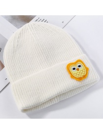 Fashion White Owl Cartoon Animal Patch Knit Wool Hat