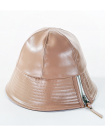 Fashion Khaki Pu Zipper Fisherman Hat