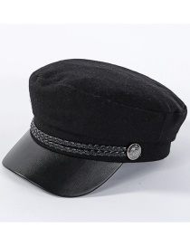 Fashion Black Woolen Navy Cap