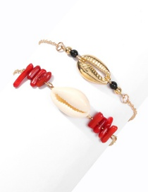 Fashion Gold Alloy Shell Rice Bead Bracelet 2 Piece Set